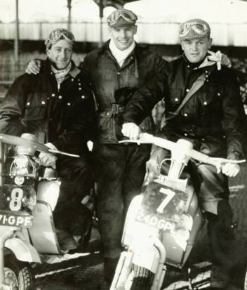 1959 - Lambretta scooters fielded a team of three riders: From left: Geoff Parker; Lewis 'Ludo' More and Alan Kimber, seen here at the Gorgie Market start area.