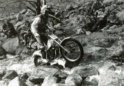 Steve Saunders on Ben Nevis in 1988 on the 250cc Fantic