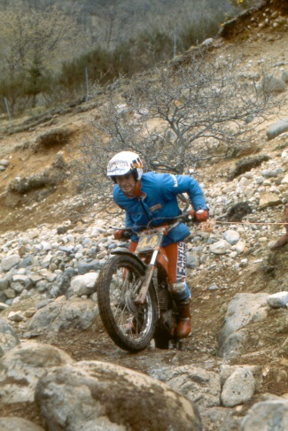 Thierry Michaud (Fantic) in 1985 on Lagnaha - Photo: Iain lawrie, Kinlochleven.