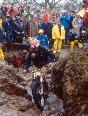 Toni Gorgot (330 Montesa) during his winning ride in 1983 on Rubha Rudha
