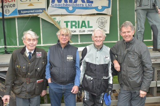 Former Scott Trial competitors, from left: Johnny Brittain (Winner: xx); Gordon Blakeway; Sammy Miller (7 times winner) & Nick Jefferies. - Photo copyright & courtesy of: Barry Robinson, Ilkely.