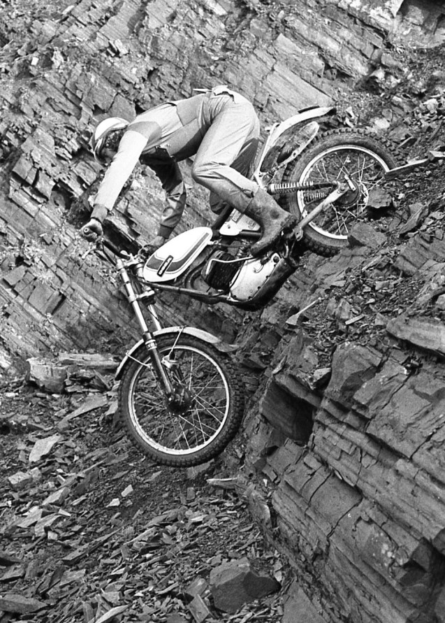Good side on shot of an Ossa but the rider is unknown