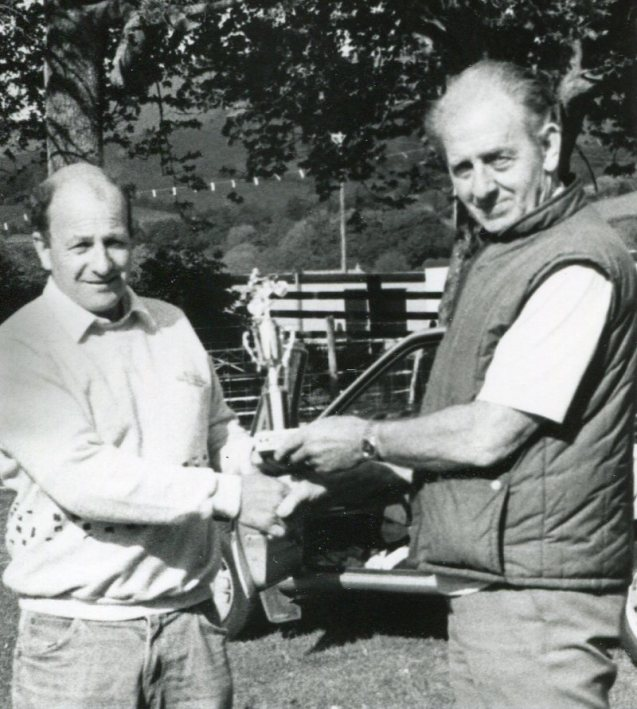 Jack Parker, for many years the MCN and TMX reporter from Mid Wales, with Mike Rapley