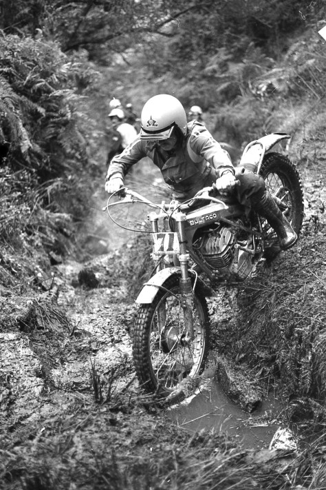 No idea who rides this unusual Bultaco