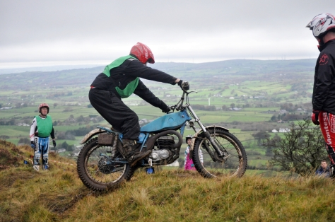 Red - John Heenan from Co Down Bultaco at the Mid Antrim club's Ulster Championship trial at Slemish.