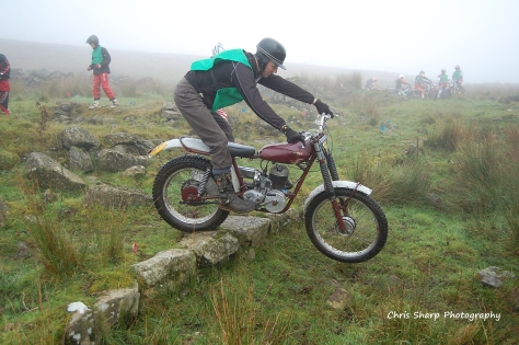 Red - Russell Houston from Bangor Co Down at a Mid Antrim club trial at Slemish The bike is a 197 Villiers engine James