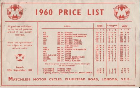 ajs - matchless 1960 prices
