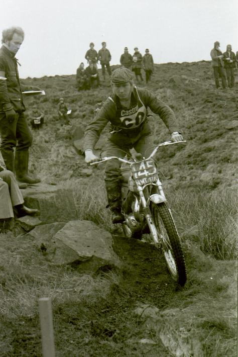 malcom rathmell on his bultaco.check out those renthal handlbars now becomming very popular in the early seventies