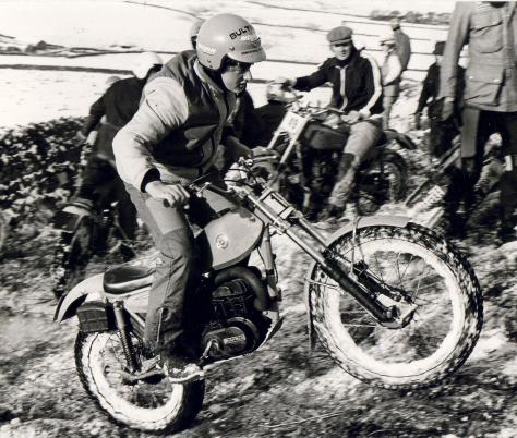 28glen scholey trying to shake of the snow on his bultaco at the wehterby john smith trial in 1979